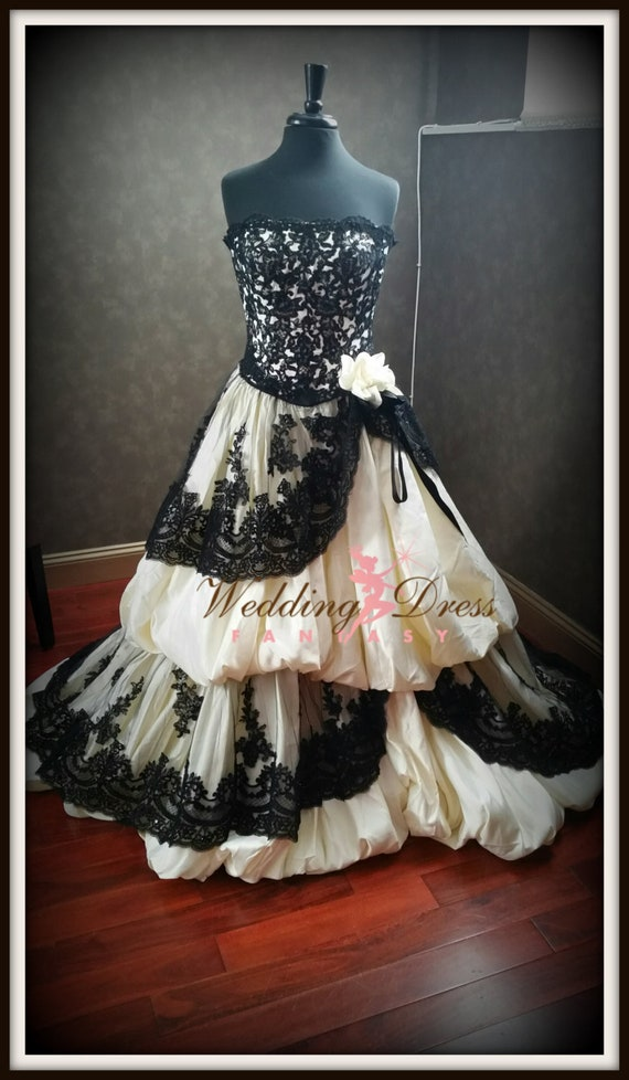Gothic Wedding Dress Pale Yellow And Black French Lace Custom Etsy