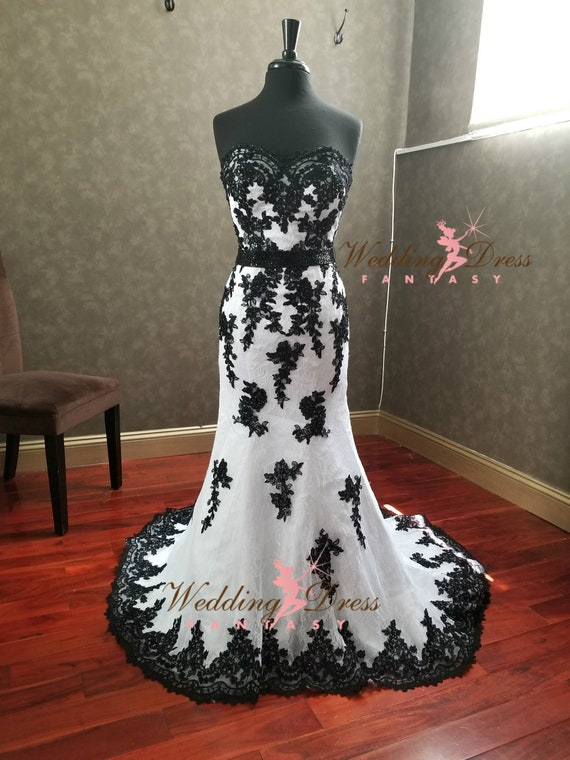 Stunning Black And White Gothic Wedding Dress With