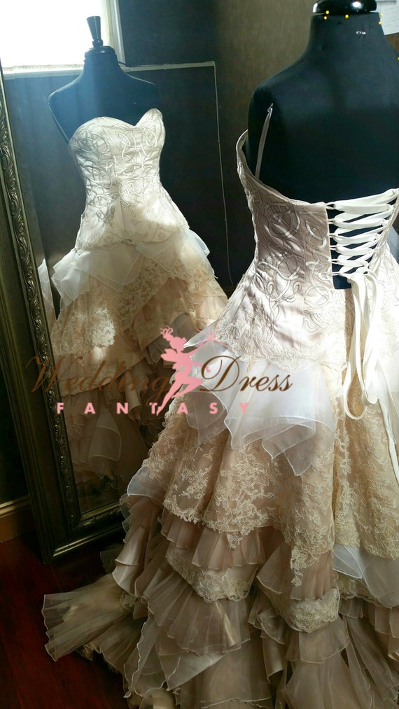Vintage Style Wedding Dresses, Vintage Inspired Wedding Gowns  Steampunk Wedding Dress Victorian Wedding Dress Celtic Wedding Dress Corset Wedding Dress Bridal Gown Beige Wedding Dress $2,955.00 AT vintagedancer.com