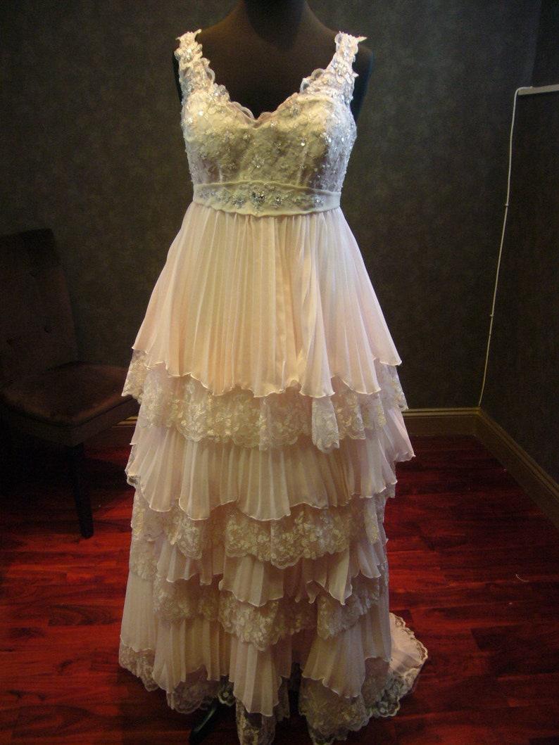 Blush Pink Plus Size Wedding Dress With Detachable Skirt Etsy