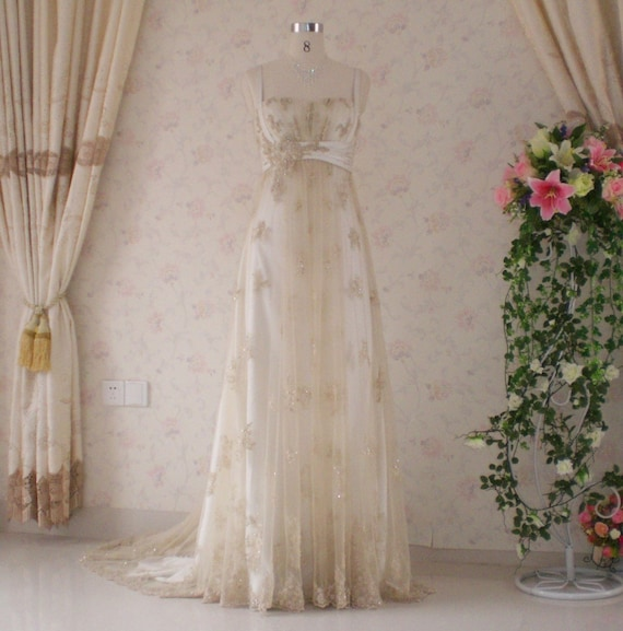 Vintage Inspired Wedding Dress With Light Gold Lace And Etsy
