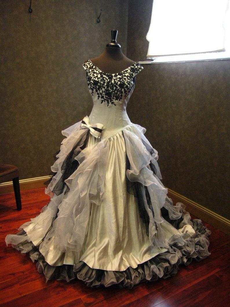 7715191531 Silver and Black Wedding Dress Gothic Wedding Dress