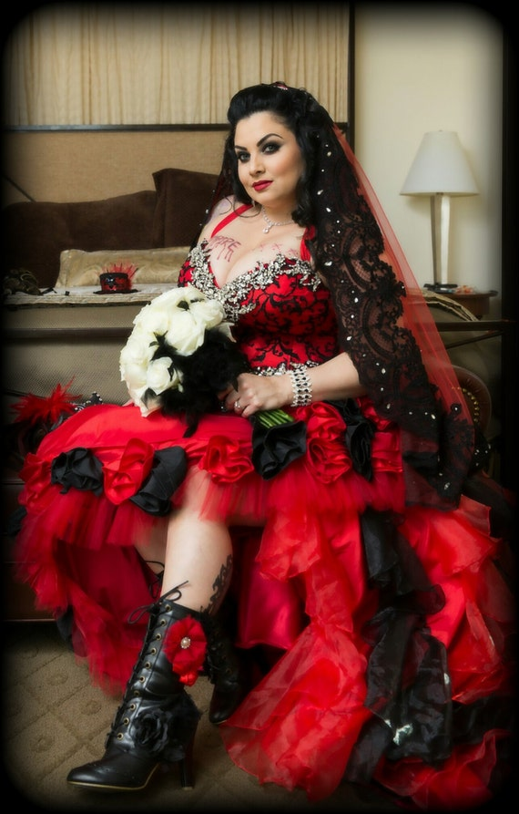 Vampire Red And Black Gothic Wedding Dress With Hand Sewn Etsy