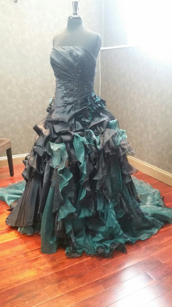 Black And Green Wedding Dress Black Wedding Dress Black Etsy