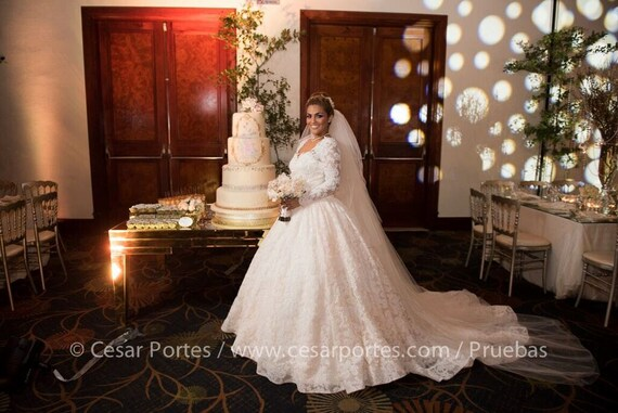 French Lace Wedding Gown: French Lace Princess Ballgown With Long Sleeves Wedding
