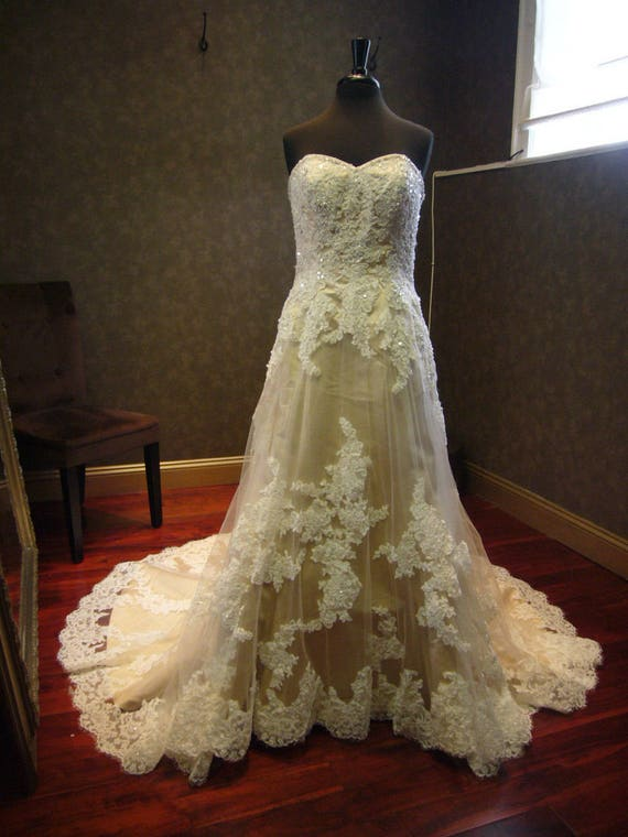 Champagne Wedding Dress with Ivory French Lace Sweatheart   Etsy