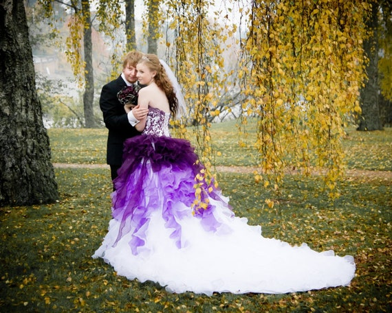Dip Dye Purple And White Ombre Wedding Dress Strapless With Etsy
