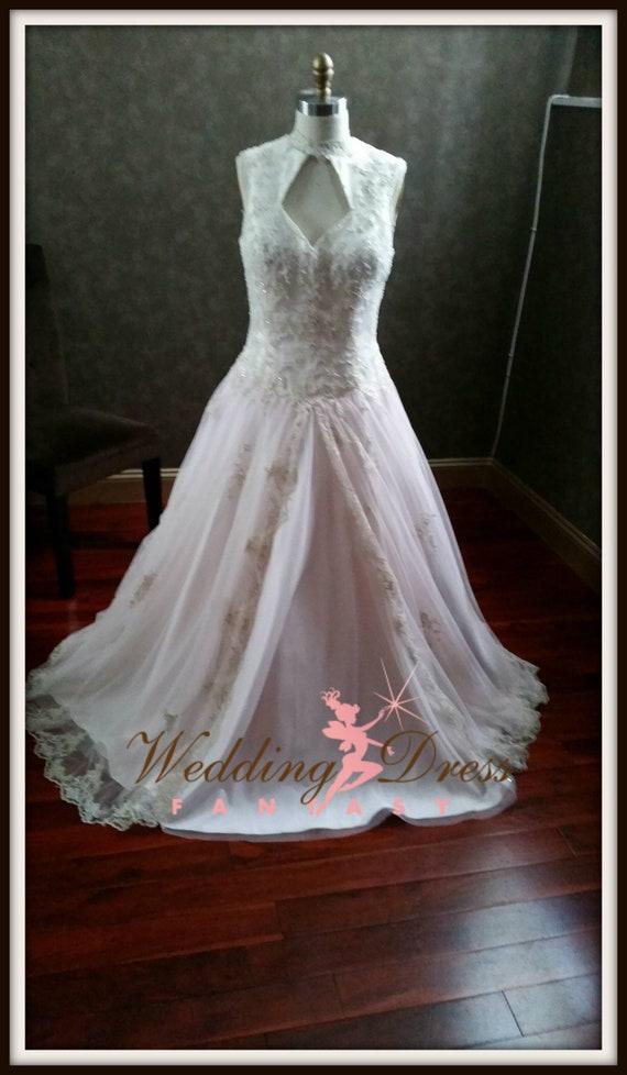 Ivory Champagne and Blush Wedding Dress Blush Bridal Gown   Etsy