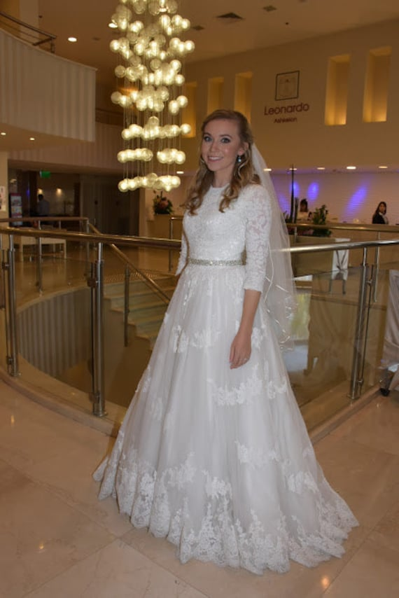 Modest Wedding Dress Ballgown With Sleeves And French Lace Etsy
