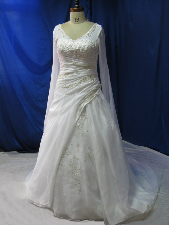 Plus Size Wedding Dress With Sleeves Medieval Style Etsy