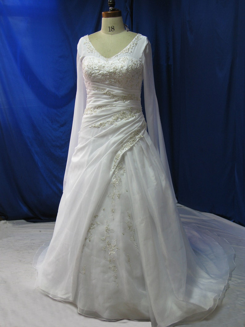 Plus Size Wedding Dress with Sleeves Medieval Style image 0