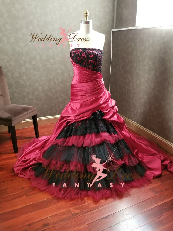 Burgundy And Black Wedding Dress Gothic Wedding Dress Gothic Etsy