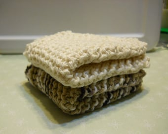 "Dishcloth's  Set of 2  Size 8 ""x 8 "" Knitted Dishcloth's,  Kitchen Dishcloth's, Cotton Dishcloth's, Cleaning Cloth's, Face Cloth's,"