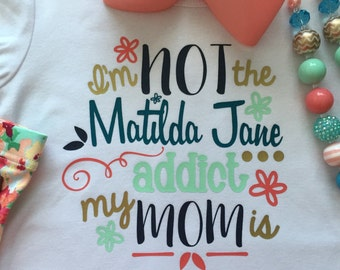 Made to match Matilda Jane addict  monogram Chunky necklace shirt coral mint gold happy Free hello lovely m2m bow adventure begins
