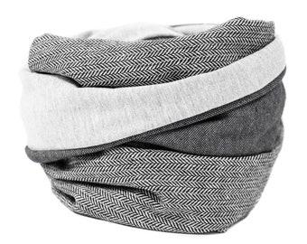 Nursing scarf XL Loop scarf Loop scarf herringbone black white XXL Loop scarf