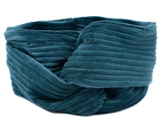 Hairband, headband, emerald, wide cord elastic, headband maritime, cord, petrol, headband soft, headband large, hairband large, warm
