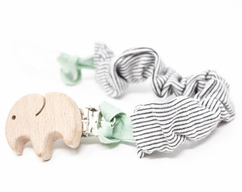 Wooden clip, striped pacifier strap, stripes, pacifier chain, elephant, personalized clip, optionally with silicone adapter