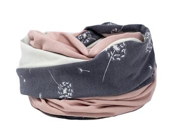 Loop, loop scarf, white, pink, rosé, soft, comfortable
