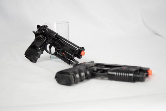 Cosplay Dual Prop Pistols Cosplay Deadpool Punisher Red Etsy