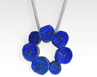 Stone Circle Necklace - Lapis Lazuli Silver Necklace - READY TO SHIP - Stone Circle Pendant - Blue Statement Necklace - Sculptural Necklace