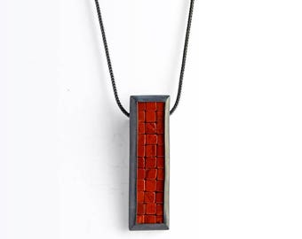 Mosaic Necklace - Red Jasper Silver Necklace - READY TO SHIP - Mosaic Pendant - Long Rectangular Pendant - red jasper mosaic necklace