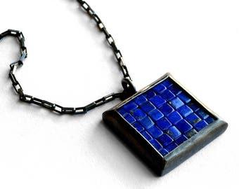 Mosaic Necklace - Lapis Lazuli Silver Necklace - Mosaic Pendant - Square Pendant - blue silver pendant - blue mosaic necklace - artisan made