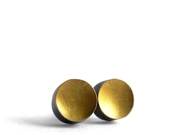 Gold Stud Earrings - Less Is More - Tiny Gold Silver Earrings - silver gold studs - gold stud earrings - tiny gold studs - Artisan Handmade