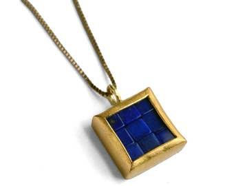 Mosaic Pendant - 22K & 18K Gold Lapis Lazuli Pendant - READY TO SHIP - Minimalist Necklace - Mosaic Necklace - Lapis Lazuli Gold Pendant