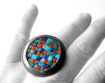 Mosaic Ring - Colorful Mosaic Ring - Size 7 1/2 - READY TO SHIP - Statement Ring - Sculptural Ring - Gemstone Mosaic Jewelry - Art Jewelry