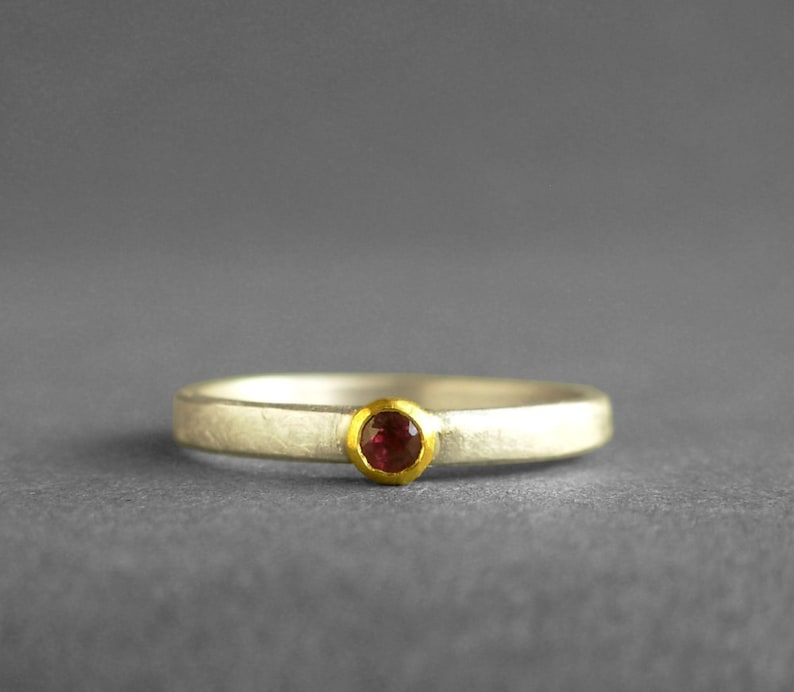 READY TO SHIP Solitaire Ruby Ring Ruby Silver Ring Ruby 22K Gold Sterling Silver Ring Ruby Stacking Ring ruby silver 22K gold ring