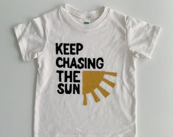 on organic cotton tee made in the USA Keep Chasing the Sun Tee