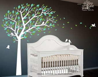Large Tree wall decal with blowing leaves and flying birds for nursery