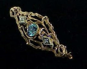 10KT Gold Blue Zircon Rose White Gold Filigree Brooch Pin Victorian Gorgeous