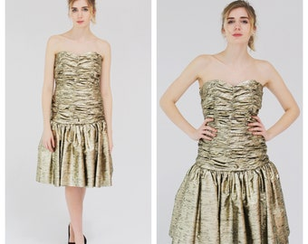 e87a023df0b Metallic Gold Strapless Dress- Victor Costa