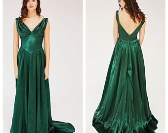 Emerald Green Gown Etsy