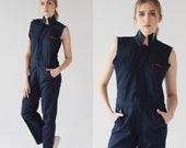 Vtg. Coverall Jumpsuit- 36R, Unisex Jumpsuit, Navy Sleeveless Boiler Suit, Onesie, Kellogg s