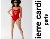 Vintage PIERRE CARDIN Red Swimsuit- One Piece, Bathing Suit, Embroidered, Designer Vintage