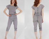 Pinstripe Two Piece Set- S, Black Charcoal Gray, Grey, 80s does 50s womens