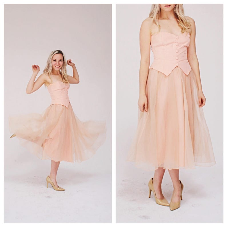04fe00651e9a 90s Blush Pink Strapless Dress S M Tea length Vintage