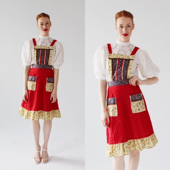 Red Calico Patchwork Pinafore- S, Overall Skirt, 7