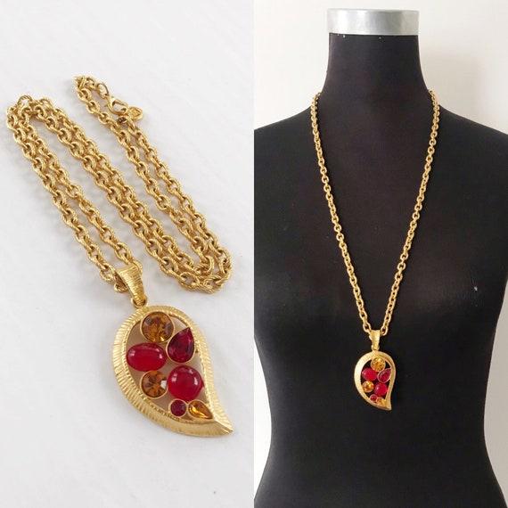 GIVENCHY Red Jeweled Pendant Necklace- Vintage Des