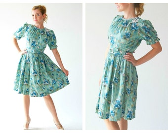 Cute 50s Mint Green Dress- Small, 27, Floral Babydoll Lolita Dress, Party Teal, Turquoise Mint Blue Fit and FlareFlower Retro LOT 2