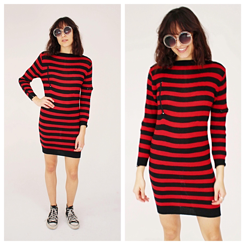 2c21133a0c Black   Red Stripe Knit Sweater Dress M 90s Zipper Grunge