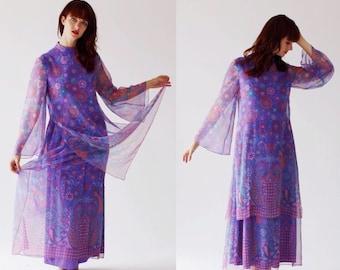 Boho Purple Scarf Dress- M, Hippie Tunic, Bell Sleeve 6