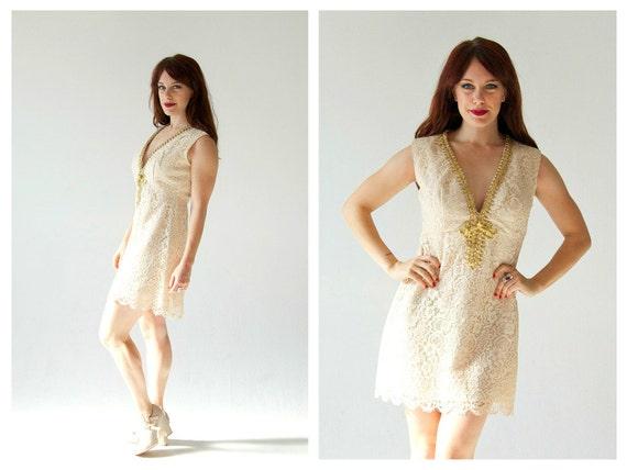 Cream Lace Cocktail Wedding Dress 6 30 Waist Minimalist Etsy