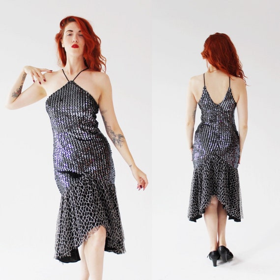 VIntage Metallic Silver Sequin Dress- M, Disco Par