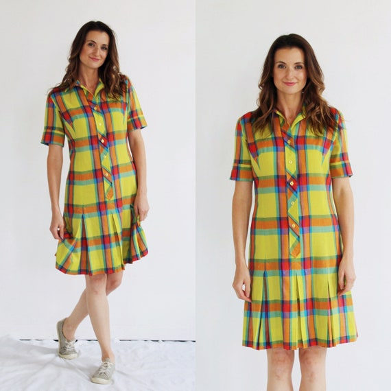 60s Mod Yellow Plaid Dress- S/M, Multicolor Tartan