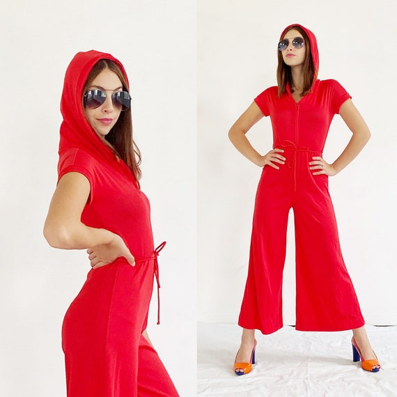 Red Wideleg Jumpsuit- S, 1970s Palazzo Hood Romper
