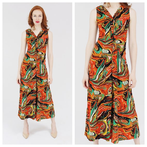 Psychedelic Orange Swirl Dress- Lava, Summer Hippi