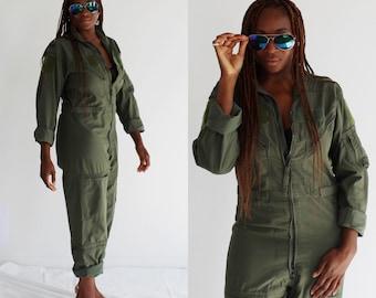 Green Flight Suit Coveralls- M, Unisex Vintage Boiler Suit, Jumpsuit Military Top Gun Onesie